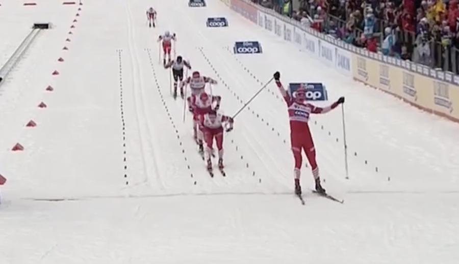 Alexander Bolshunov in occasione della vittoria nella 50km di Oslo nel 2019