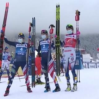 Il podio della 3^ tappa del Tour de Ski