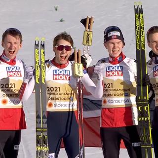 La Norvegia festeggia l'oro della combinata a squadre