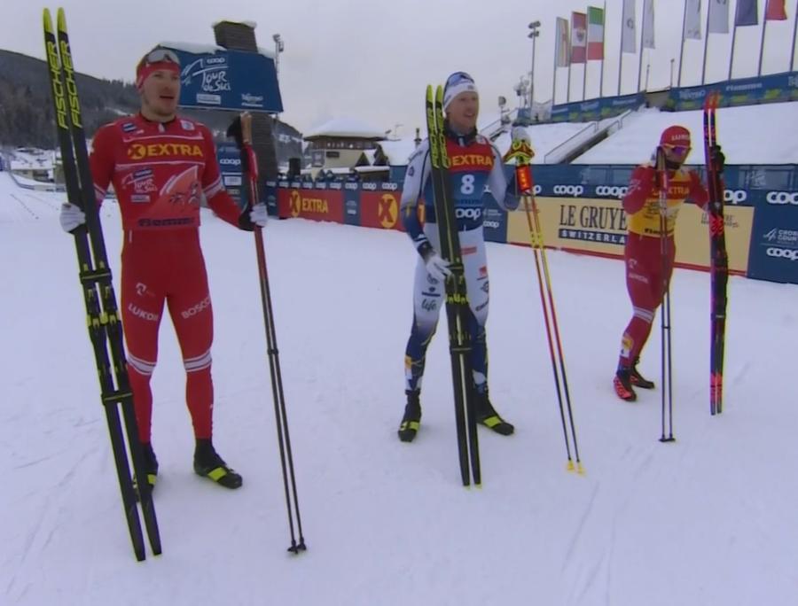 Il podio della sprint classica in Val di Fiemme