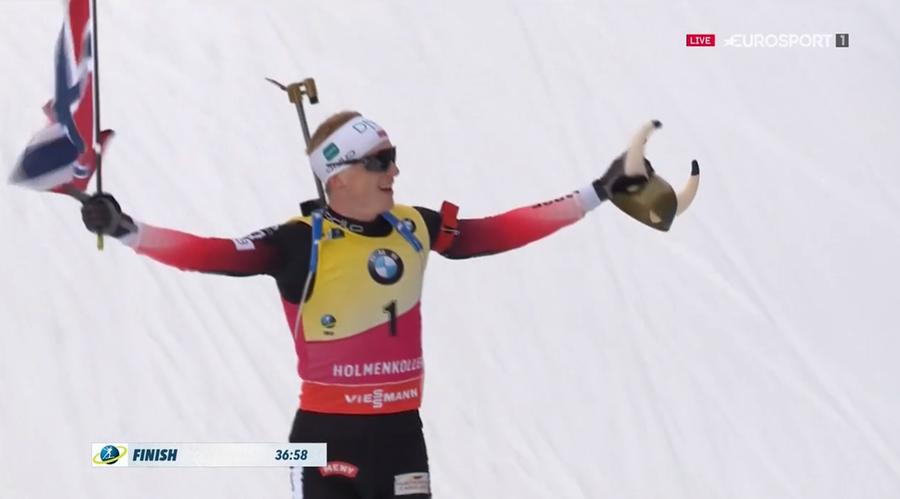 Johannes Bø vince la mass start di Oslo e ritocca il libro dei record