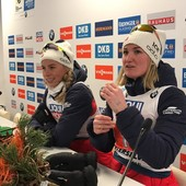 Tiril Eckhoff e Marte Roiseland in conferenza stampa ad Anterselva
