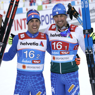 Il podio di Pellegrino e De Fabiani nella team sprint mondiale di Seefeld (Photo: Pentaphoto)