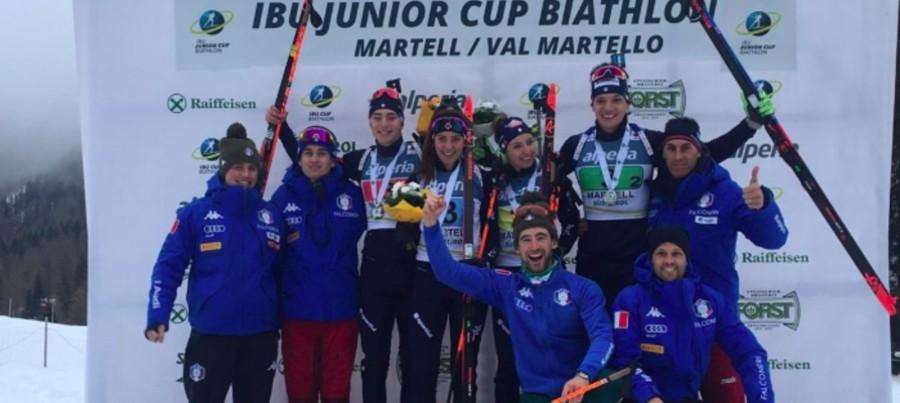 Gioia azzurra in Val Martello dopo il secondo posto della staffetta mista