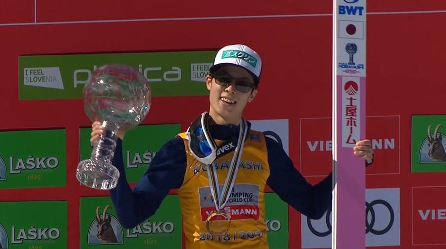 Ryoyu Kobayashi spettacolare: è sua la vittoria nella finale di Planica e la coppetta di volo