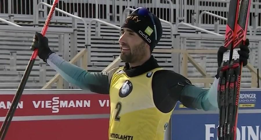 Martin Fourcade nell'ultimo trionfo della carriera