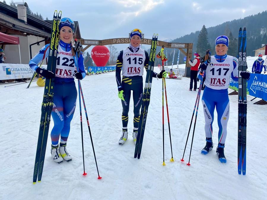 Il podio della 30km femminile di Passo Cereda