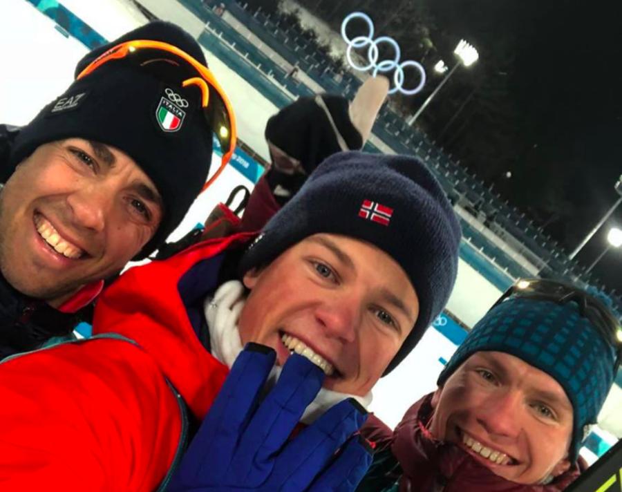 Selfie scattato in occasione della sprint olimpica di PyeongChang