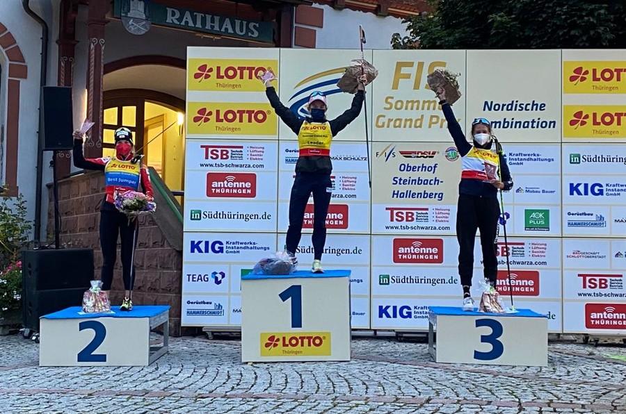 Il podio femminile di Oberhof
